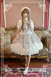 Neverland Antique Clock Puff Sleeves Splicing Chiffon Sweet Lolita OP Dress
