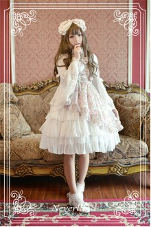 Neverland Antique Clock Sloping Hem Cake Chiffon Sweet Lolita JSK Dress