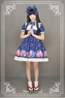 Neverland Gentle Wind Lucky Cat High Waist Short Sleeves Sweet Lolita OP Dress 4 Colors