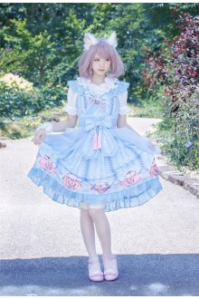 Neverland Gentle Wind Lucky Cat Cover Yarn Sweet Lolita JSK Dress 4 Colors