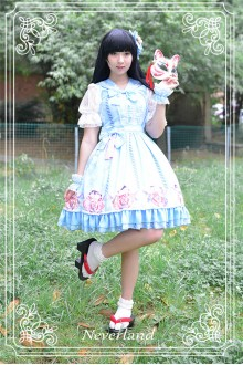 Neverland Gentle Wind Lucky Cat Detachable Sailor Collar Sweet Lolita JSK Dress 4 Colors