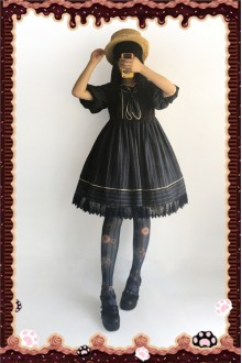Infanta Striped Navy Style High Waist Doll Half Sleeves Puff Sleeves Sweet Lolita OP Dress