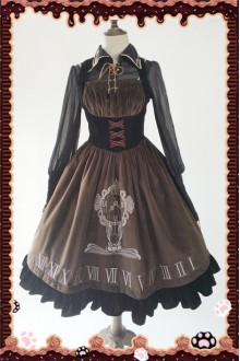 Infanta Antique Clock Embroidery Classic Gothic Lolita JSK PreOrder