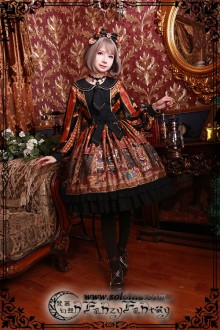 Fanzy Fantasy The Wonderful Journey of The Walnut Little High Waist Classic Lolita OP Dress