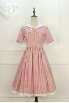 Miss Point Original Design Naval Style Vintage College Style Stripe Sailor Collar Sweet Lolita Dress