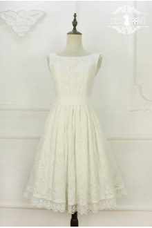 Miss Point Original Design White Swan Vintage Water-soluble Lace Elegant Classic Lolita JSK Dress