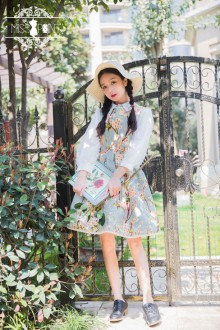 Miss Point Vintage Elegant Peach Monster Printing Classic Lolita Strap Dress