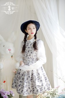 Miss Point Vintage Elegant Zoo Printing Classic Lolita Strap Puff Dress