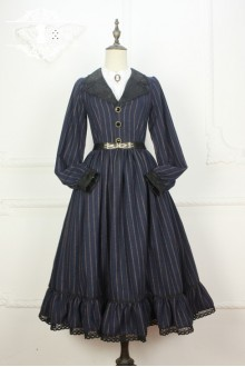 Miss Point Time Travel Vintage British Style Stripe Woolen Classic Lolita Long Dress