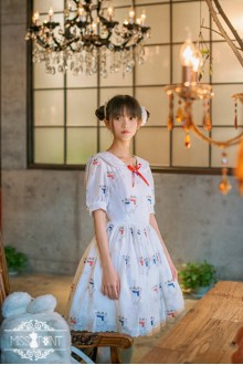 Miss Point Lucky Meow Vintage Sailor Collar College Style Sweet Lolita Dress