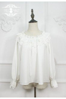 Miss Point Vintage Lotus Leaf Lace Boat Neck Lolita Blouse 4 Colors