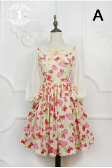 Miss Point Strawberry Cats Cherry Printing Round Collar Long Sleeves Sweet Lolita Suspender OP Dress (Multiple Colour)