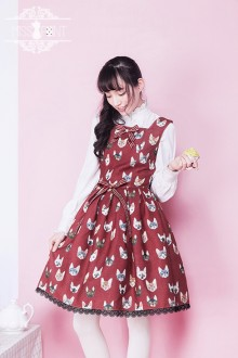 Miss Point Miss Cat Printing Vintage Sweet Lolita Dress 3 Colors