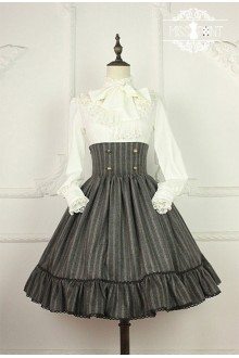 Miss Point Wendy's Afternoon Tea Vintage College Style High Waist Fishbone Stripes Classic Lolita SK