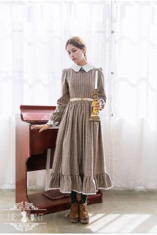 Miss Point Wendy's Afternoon Tea Vintage Stripes Classic Lolita Dress