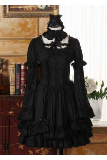 Black Halloween Cross Collar Trumpet Sleeves Vintage Gothic Lolita Dress
