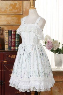 Fall Whispers Flowers Printing Boat Neck Lace Sweet Lolita Jumper Dress