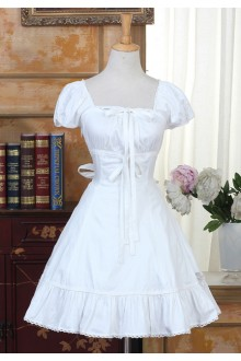 Solid Color Simple Short Sleeves Square Neck Sweet Lolita Dress