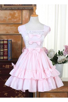 Sweet Pink Bowknot Flouncing Short Sleeves Lolita Dress