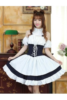 Dark Blue With White Sweet Maid Lolita Dress