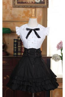 White Sleeveless Blouse and Black High Waist Gothic SK Set