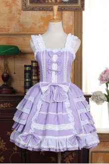 Sweet Violet Boat Neck Bowknot Lolita Tiered Dress