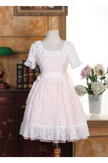 Pink Lovely Doll Collar Short Sleeves Sweet Lolita Dress