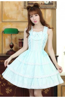 Sweet Lace Strap Slim Boat Neck Lolita Suspender Dress 3 Colors