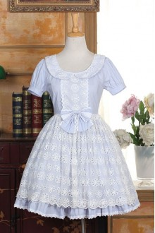 Light Blue Lace Short Sleeves Doll Collar Sweet Lolita Dress