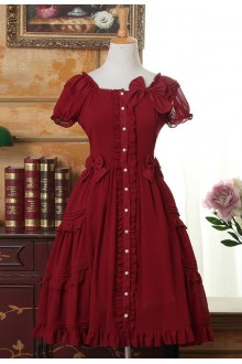 Wine Flouncing Short Sleeves Square Neck Chiffon Sweet Lolita Dress