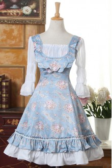 Vintage Palace Princess Flower Printing Half Sleeves Classic Lolita Dress