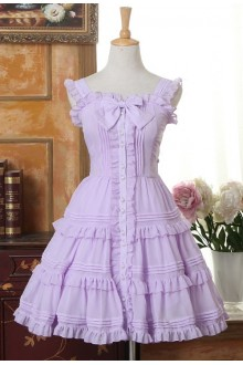 Sweet Flouncing Bowknot Chiffon Lolita Suspender Dress 3 Colors