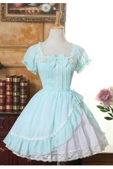Sweet Short Sleeves Irregular Hem Square Neck Chiffon Lolita Dress 4 Colors