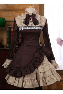 Vintage Irregular Hem Long Sleeves Classic Lolita Dress 5 Colors