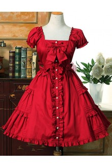 Sweet Flouncing Slim Short Sleeves Lolita Dress 10 Colors