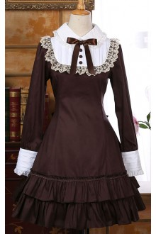 Vintage Flouncing Long Sleeves Bowknot Classic Lolita Dress 2 Colors