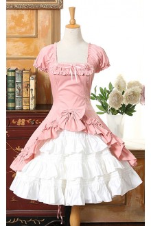 Palace Temperament Short Sleeves Irregular Hem Sweet Lolita Dress 8 Colors