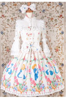 Yilia Original Printing Alice Sweet Lolita OP Dress 3 Colors