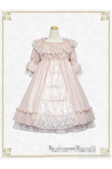 Creamy Burial Night of Flowers Pink Lace Sweet Lolita OP Dress