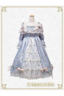 Creamy Burial Night of Flowers Ice Blue Lace Sweet Lolita OP Dress