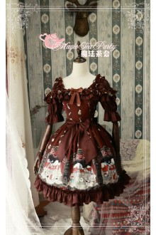 Magic Tea Party Original Printing Bremen Town Musicians Sweet Lolita OP Dress 3 Colors