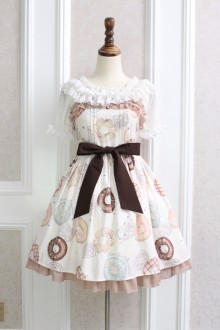 Alice Girl Doughnut Bowknot Flouncing Sweet Lolita JSK Dress 3 Colors