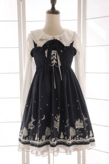 Alice Girl Lace Printing Bowknot Sweet Lolita Suspender JSK Dress 2 Colors