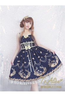 To Alice Original Hot Stamping Swan Vintage Elegant Girdling Sweet Lolita Suspender Dress 3 Colors