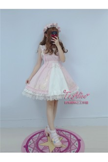 To Alice Original Rose Afternoon Tea Hot Stamping Jacquard Cardigan Chiffon Sweet Lolita Suspender Dress 3 Colors