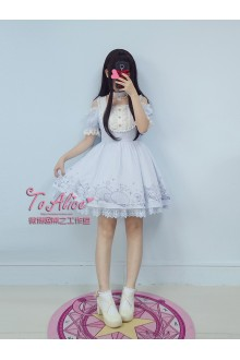 To Alice Original Star and Sea Organza Embroidery Off Shoulder Chiffon Sweet Lolita Dress