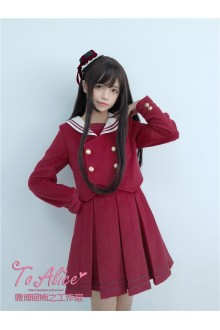 To Alice Original Vintage College Style Navy Collar Lace Sailor Lolita SK & Wool Jacket Set