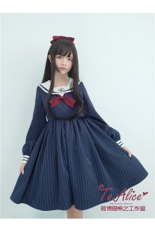 To Alice Original Snowflake Embroidery Vintage College Style Navy Collar Sailor Lolita Dress