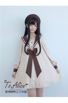 To Alice Original Stereoscopic Bear's Ears Navy Collar Sailor Lolita Dress