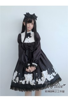 To Alice Original Antique Cats Doll Vintage Lantern Sleeves Classic Lolita Dress